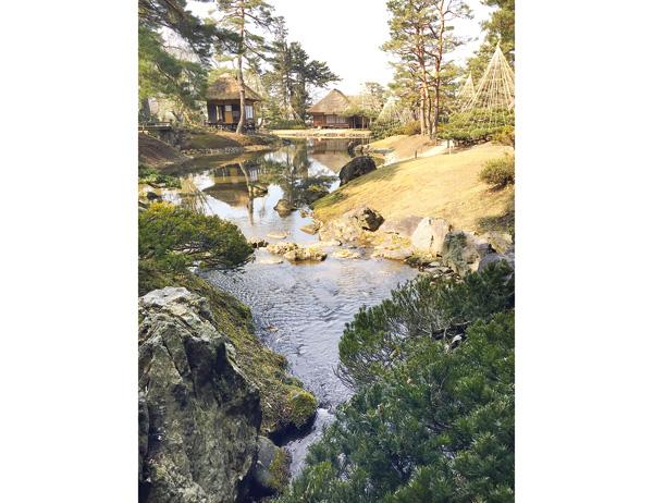 日本庭園に そそぎこむ鶴ヶ清水