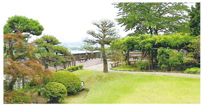 ▲阿武隈川に面した美しい日本庭園